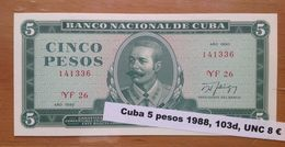 Cuba  5 Pesos 1990 UNC - Cuba