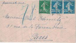 PARIS - PNEUMATIQUE - AVENUE DE LA REPUBLIQUE - 1923 - AFFRANCHISSEMENT A 60c AVEC SEMEUSE  (P1) - Postmark Collection (Covers)