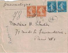 PARIS - PNEUMATIQUE - 1922 - AFFRANCHISSEMENT A 60c AVEC SEMEUSE  (P1) - Postmark Collection (Covers)