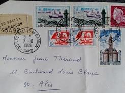 Lettre En Recommandé En Provenance Les Salles Du Gardon Affranchissement Multiple - Marcophilie (Lettres)