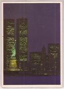 New York City By Night  La Statue De La Liberté Les Tours Jumelles World Trade Center - World Trade Center