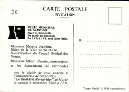 CARTE INVITATION 800 EXEMPLAIRES - Saint Die