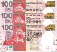 HONG KONG 100 DOLLARS 2014 P-214d UNC 3 PCS [HK214d] - Hong Kong