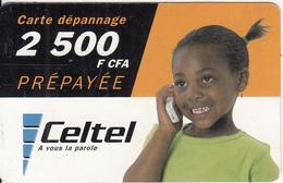 GABON - Little Girl On Phone, Celtel Prepaid Card 2500 Fcfa, Used - Gabon