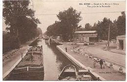 REIMS - Canal De La Marne à L'Aisne - Vue Prise De La Passerelle - PENICHE - Reims