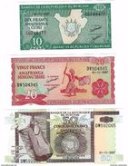 BURUNDI 10 20 50 FRANCS 2007 P-33,27,36 UNC SET [BI214l, BI215n, BI222g] - Burundi
