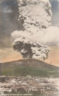 Pasto Colombia, Town With Galeras Volcano Eruption Smoke And Ash, C1940s Vintage Colorized Real Photo Postcard - Colombia