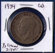 1934 SILVER GREAT BRITAIN HALF CROWN KING GEORGE V. XF-40 - 1902-1971 : Post-Victorian Coins