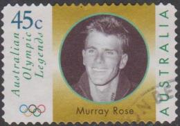 AUSTRALIA -DIE-CUT- USED 1998 45c Olympic Legends - Murray Rose - Face - 1990-99 Elizabeth II