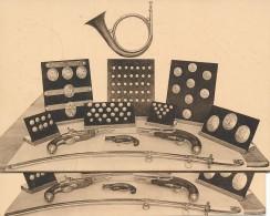 1936 Inauguration Musée Postal - Revolver, Sable Et Boutons Poste à Chevaux - Tirage 2 X 750 Piéces De Chaque Type - Correo Postal