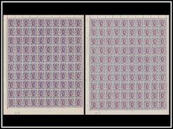 Belgium 0671** 2 Feuilles De Nuances -  Sheet De 100 (panneau 3) - Full Sheets