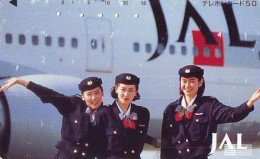 Télécarte  JAPON * 110-73311  * JAL (2320)  STEWARDESS  *  Phonecard JAPAN * Airplane * Flugzeug AVION * AIRLINE - Airplanes