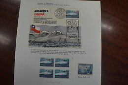 Antarctic Chile Prat Station 14/1/77 Pinochet Visit And Stamps Two Hinged - Unclassified