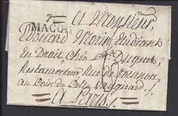 FR - Lettre De Macon Du 24 Novembre 1820, Griffe 70 MACON, En Port Dû, Taxe Manuscrite 6 Décimes, Pour Paris - B/TB - - Marcophilie (Lettres)