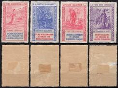 France - WW1, Anti-German Propaganda Vignettes - MH Poster Stamps. - Vignettes Militaires