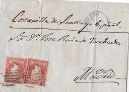 4 Cuartos 1855 (Edifil Nr. 40) Mit Rejilla Und Datumsstempel Typ  I. - Lettres & Documents