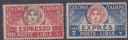 Italy-Colonies And Territories-Libya E 7-8 1922 Special Delivery Stamp, Set, Mint Never Hinged - Libya