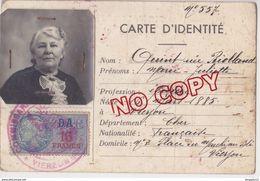 Au Plus Rapide Timbre Fiscal N° 228 DA 13 Francs Carte D'identité 1942 Vierzon Cher Validée Pour 1943  Poivert Imprimeur - Steuermarken