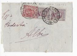 STORIA POSTALE REGNO - ANNULLO FRAZIONARIO - MAGISANO (CZ) 18-83 SU PIEGO PER ALBI - COPPIA MICHETTI +LEONI - 1900-44 Victor Emmanuel III