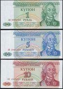 Transnistria SET - 1 5 10 Rublei 1993 - UNC - Billets