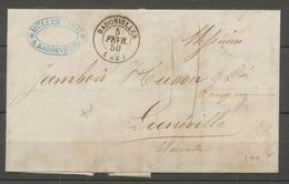 1850 Lettre Obl CAD T15 BADONVILLER + Taxe Main  MEURTHE(52) TB. X1654 - Marcophilie (Lettres)