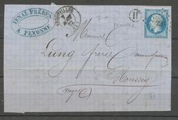 1862 Devant Lettre N°14 PC226 BADONVILLER + BR H PEXONNE.  MEURTHE(52) X1656 - Marcophilie (Lettres)