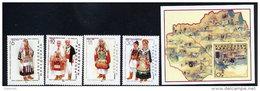 MACEDONIA  2001 National Costumes Set + Block MNH / **.  Michel 220-23 + Block 8 - Macedonia