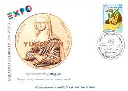DZ 2014 FDC World Expo Milan 2015 Celebrates Da Vinci De Vinci Italia Italy Mona Lisa Joconde Gioconda Coin Coins - 2015 – Milan (Italy)