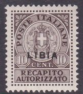 Italy-Colonies And Territories-Libya RA 4 1942 Authorized Delivery Stamp 10c Brown, Mint Hinged - Libya