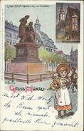 AK Hanau, Gebrüder Grimm Denkmal Am Markt, Sign. K. Fuchs, O 1899, Einriss Am Linken Rand (16339) - Hanau
