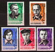 USSR Russia 1966 World War Heroes Guerrilla Warfare History WW2 Famous People Military Stamps Sc 3202-06 Mi 3213-17 - 2. Weltkrieg