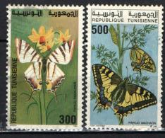 TUNISIA - 1994 - FARFALLE: PAPILIO PADOLARIUS E PAPILIO MACHAON - USATI - Tunisia (1956-...)