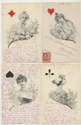 Set Of 4 Cards Woman Playing Cards . - Playing Cards