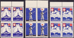 POLAND 1941 - Exile Government In London/Red Cross, MNH Upper LEFT Corner Blocks Of 4, Two Stamps Perf. At 3 Sides - 1939-44: 2. WK