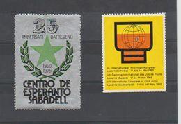ESPERANTO - 2 VIGNETTES - SUISSE Luzern 1965 Et SABADELL 1975 - Organisaties