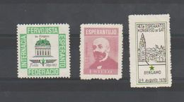 ESPERANTO - 1974 - ITALIE - BERGAME - Kongreso De Esperanto - Sans Gomme + 2 Autres Vignettes - Organizaciones