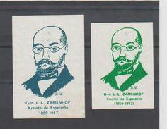 ESPERANTO - Dro. L. L. ZAMENHOF - 2 Vignettes Ou Découpage ?? - Sans Gomme - Organisaties