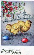 78Sm  Poussins Joyeuses Paques Oeufs Paillettes Argentées - Animali Abbigliati