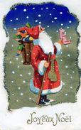 78Sm  Pére Noel Santa Claus Ajoutis Découpis Hotte De Jouets Paillettes Neige - Santa Claus