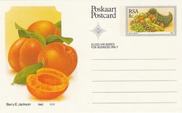 8c SOUTH AFRICA Postal STATIONERY CARD Illus APRICOT FRUIT Cover Stamps Rsa Grapes  Banana - Fruits
