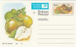15c SOUTH AFRICA AIRMAIL Postal STATIONERY CARD Illus PEAR FRUIT Cover Stamps Rsa Grapes  Banana - Fruits
