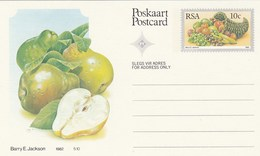 10c SOUTH AFRICA Postal STATIONERY CARD Illus PEAR FRUIT Cover Stamps Rsa Grapes  Banana - Fruits
