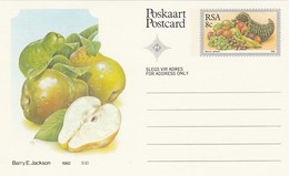 8c SOUTH AFRICA Postal STATIONERY CARD Illus PEAR FRUIT Cover Stamps Rsa Grapes  Banana - Fruits