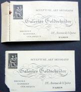 ART SCULPTURE GOLDSCHEIDER 2 CARTES DE VISITE DES GALERIES GOLDSCHEIDER TERRES CUITES BUSTES 28 AVENUE DE L'OPERA  1900 - Visiting Cards