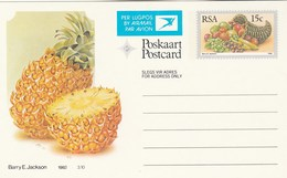 15c SOUTH AFRICA AIRMAIL Postal STATIONERY CARD Illus PINEAPPLE FRUIT Cover Stamps Rsa Grapes  Banana - Fruits