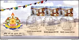 India, 2014, FDC, Drukpa Lineage Of Buddhism, Buddha, THREE STAMPs Cancelled On FDC, Religions, Symbol, Spiritual. - Buddhism