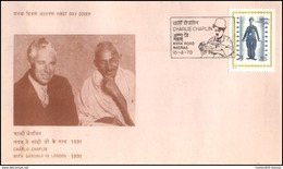 India, 1978, CHARLIE CHAPLIN With MAHATMA GANDHI, FDC, Gandhi, Chaplin, Cinema, Hollywood, Composer, Comic Actor, Film. - Mahatma Gandhi