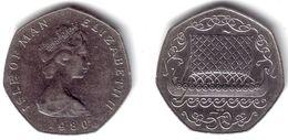 ISLE OF MAN - 50 Pence 1980   KM#70.1 XF+ - Isle Of Man
