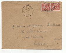 IRIS SUR LETTRE DE LE TOURNEUR CALVADOS DU 6/8/1945 - Marcophilie (Lettres)