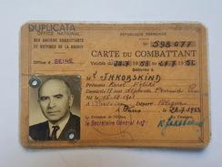 Office National Des Anciens Combattants Et Victimes De Guerre Carte Du Combattant Jakobskind Karol Féliks Varsovie Paris - Documents